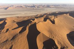 Helicopter view of sossusvlei area. In Namibia Royalty Free Stock Photos