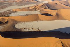 Helicopter view of sossusvlei area. In Namibia Stock Photos