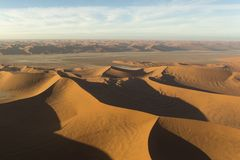 Helicopter view of sossusvlei area. In Namibia Royalty Free Stock Photo