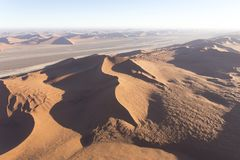 Helicopter view of sossusvlei. In namibia stock image