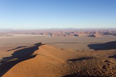 Helicopter view of sossusvlei. In namibia royalty free stock photo