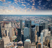 Helicopter view at sunset of Lower Manhattan skyscrapers Royalty Free Stock Photo