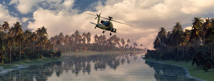 Helicopter war. 3D illustration of a helicopter war Royalty Free Stock Image