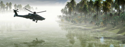 Helicopter war. 3D illustration of a helicopter war Royalty Free Stock Images