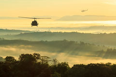Helicopter Were flown back to base. Helicopter mission completed Were flown back to base Royalty Free Stock Photo