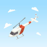 Helicopter white and red color isometric vector Royalty Free Stock Photos