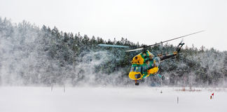 Helicopter in winter Royalty Free Stock Photos