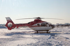 Helicopter in winter Stock Photo