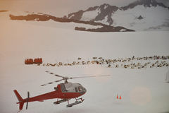 Helicopter winter tour in mountains Stock Photos