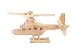 Helicopter wood toy isolated Royalty Free Stock Photo