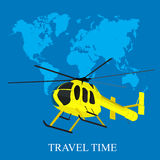 Helicopter, world map, vector illustration in flat design for web sites Royalty Free Stock Images