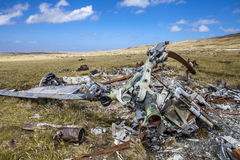 Helicoptere Crashed in Falkland Islands Stock Photo