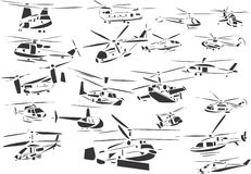 Helicopters. 20 themed EPS images of helicopters. The number of vector nodes is absolute minimum. The images are very easy to use and edit and are extremely Stock Photos
