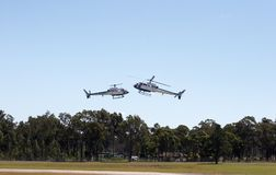Helicopters. In formation flying Royalty Free Stock Photo