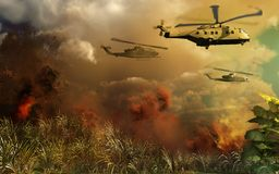 Helicopters above tropical jungle Royalty Free Stock Images