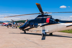 Helicopters on anirfield. Three helicopters on an airfield Stock Photo