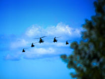 Helicopters in attack. Five helicopters in attack royalty free stock image