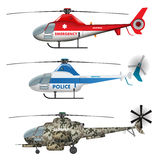 Helicopters collection Royalty Free Stock Photos