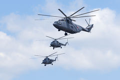 Helicopters fly over Red Square Royalty Free Stock Photography