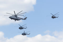 Helicopters fly over Red Square Stock Photography