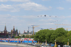 Helicopters fly over Red Square Stock Photo