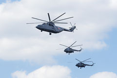 Helicopters fly over Red Square Royalty Free Stock Photos