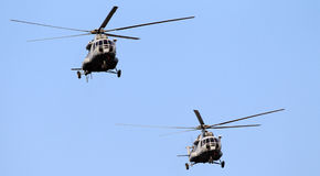 Helicopters flying Royalty Free Stock Images