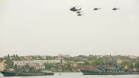 Helicopters  flying in the sky during military stock video footage