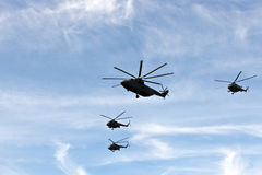 Helicopters in formation Royalty Free Stock Photo