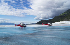Helicopters on a Glacier Royalty Free Stock Photo