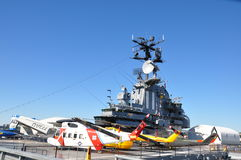 Helicopters on the Intrepid deck Royalty Free Stock Image