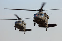 Helicopters landing Stock Image