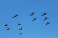 Helicopters Mi-24 and Mi-28n on parade Stock Photos
