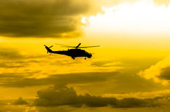 Helicopters Mi-24. Combat helicopters Mi-24 against the sky stock images