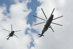 Helicopters Mi-26 and Mi-8AMTSh at the rehearsal of the Victory Parade in Moscow. Royalty Free Stock Image