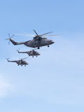 Helicopters Mi-26 and Mi-8 Royalty Free Stock Photo