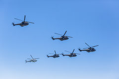 Helicopters Military Formation Flying Stock Photos