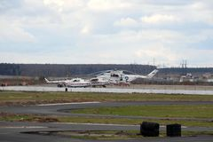 Helicopters of the Ministry of Emergency Situations of Russia at the Myachkovo airfield. MOSCOW, RUSSIA APRIL 27, 2018: Helicopters of the Ministry of Emergency royalty free stock image