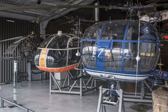Helicopters in the Museum of Astronautics and Aviation Le Bourg Royalty Free Stock Photos