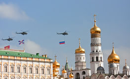 Helicopters over Moscow Kremlin. Stock Photo