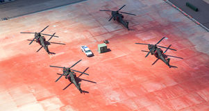 Helicopters Parked on Tarmac. From above, four helicopters parked on the tarmac royalty free stock photography