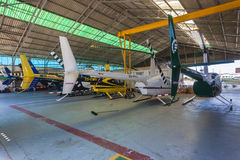 Helicopters Private Hangar Royalty Free Stock Photos