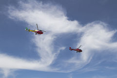 Helicopters in the sky Royalty Free Stock Photography