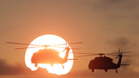 Helicopters sun set Royalty Free Stock Photo