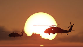 Helicopters sun set Royalty Free Stock Photos