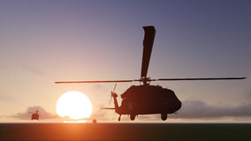 Helicopters sun set Royalty Free Stock Photography