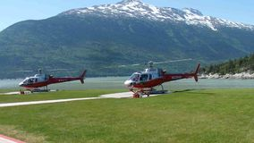 Helicopters used for sightseeing tours over the glaciers in alaska stock video