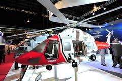 Helicóptero de Airbus para su guardacostas de la majestad en la exhibición en Singapur Airshow Fotos de archivo libres de regalías