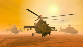 Helicópteros de ataque soviéticos Foto de Stock Royalty Free
