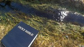 Helig bibel mot ett strömmande vatten stock video